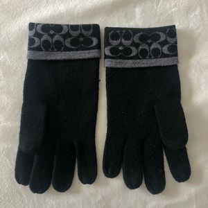 Black Coach Monogram Gloves